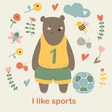 Urso dos esportes ilustração royalty free