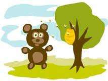 Urso e abelhas Fotografia de Stock