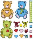 Urso e acessórios da peluche Imagens de Stock Royalty Free