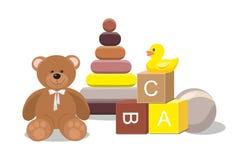 Urso e brinquedos clorful ilustração royalty free