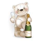 Urso e champanhe Imagem de Stock Royalty Free