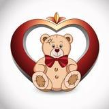 Urso e coração Imagens de Stock Royalty Free