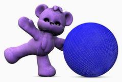 Urso e esfera roxos - 01 Fotografia de Stock Royalty Free