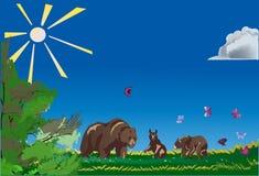 Urso e filhotes na beira da floresta ilustração stock