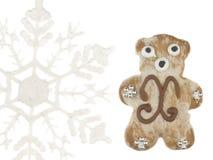 Urso e floco de neve engraçados do pão-de-espécie Imagem de Stock Royalty Free