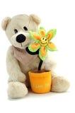 Urso e flor da peluche Fotos de Stock