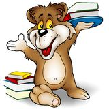 Urso e livros doces ilustração stock