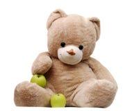 Urso e maçãs Fotos de Stock