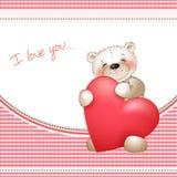 Urso e o coração grande Fotos de Stock