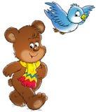 Urso e pássaro Imagens de Stock Royalty Free