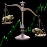 Urso e touro nas escalas Foto de Stock