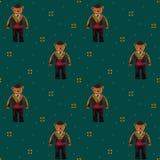 Urso em um traje do matador em um fundo escuro de turquesa ilustração do vetor