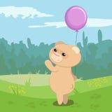 Urso engraçado com balão magenta Ilustração Stock