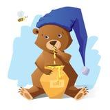 Urso engraçado com mel Imagem de Stock