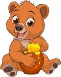Urso engraçado com um potenciômetro do mel ilustração royalty free