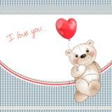 Urso feliz com um balão Foto de Stock