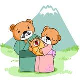Urso feliz da família na montanha ilustração stock