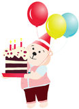 Urso feliz da festa de anos Foto de Stock Royalty Free