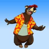 Urso feliz do personagem de banda desenhada na roupa do verão Fotografia de Stock Royalty Free
