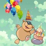 Urso feliz dos desenhos animados com bolo e balões Foto de Stock Royalty Free