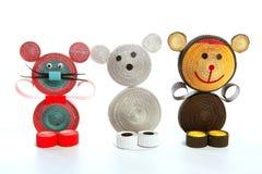 Urso handmade do carboard engraçado dos desenhos animados Imagem de Stock