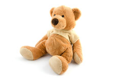 Urso marrom do brinquedo isolado no branco Imagens de Stock
