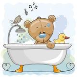 Urso no banheiro ilustração royalty free