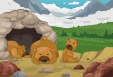 Urso no fundo da paisagem das montanhas Imagens de Stock