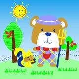 Urso no vetor da exploração agrícola ilustração do vetor
