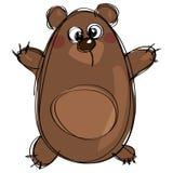 Urso pardo bonito marrom dos desenhos animados como a tiragem ingênua das crianças Foto de Stock Royalty Free