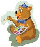 Urso pequeno alegre que guarda uma escova e pinturas Fotos de Stock Royalty Free