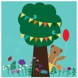 Urso pequeno bonito atrás de uma árvore ilustração do vetor