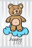 Urso pequeno feliz em uma nuvem Foto de Stock Royalty Free
