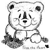 Urso pintado com a cesta das flores Imagens de Stock