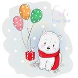 Urso polar bonito que recebe um presente com balão ilustração do vetor