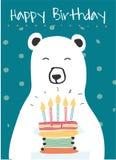 Urso polar branco que guarda um bolo de aniversário ilustração do vetor
