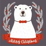 Urso polar com inscrição do Feliz Natal Imagens de Stock Royalty Free