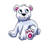 Urso polar Cub da aquarela ilustração do vetor