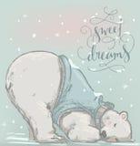 Urso polar do sono bonito ilustração royalty free