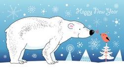 Urso polar e pássaro Imagens de Stock