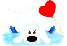 Urso polar em patins e em um balão na forma de um coração Imagem de Stock