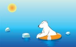 Urso polar em um boia salva-vidas Imagens de Stock Royalty Free
