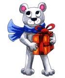 Urso polar que prende um presente ilustração royalty free