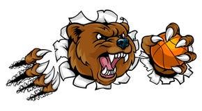 Urso que guarda a bola do basquetebol que quebra o fundo ilustração royalty free