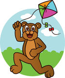 Urso que joga desenhos animados do papagaio Fotos de Stock Royalty Free