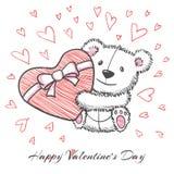 Urso tirado mão do estilo do esboço com coração Fotos de Stock Royalty Free