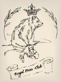 Urso tirado tinta em uma bicicleta com fitas, galhos e coroa A ilustração podia ser usada como a cópia, o sinal ou a tatuagem Fotografia de Stock
