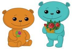 Ursos da peluche com flores Imagens de Stock Royalty Free