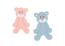 Ursos de peluche azuis e cor-de-rosa Fotos de Stock