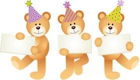 Ursos de peluche do aniversário com quadros indicadores Fotos de Stock